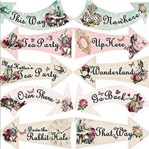 Brand new never open Alice in wonderland signs